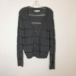 LOFT Gray Metallic Striped Button Cardigan Size XL